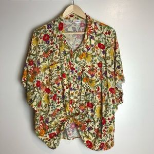 Lularoe Floral Print Amy Button Up Shirt